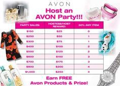 Hosting an Avon party means FREE PRODUCTS. This chart shows you the gift certificate amount you (as the party host) will receive based on the sales from people at your party. You'll also receive a number of items at 50% off list price! Contact me at samccabe@gmail.com or 226-929-9069 to set up a party in the KW, Cambridge, Guelph area. You can also request a paper brochure or shop online from the e-brochure http://www.avon.ca/shop/en/avon-ca/brochure-list?BP=fZfgmIlrV1A%3d
