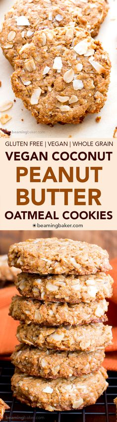 Peanut Butter Coconut Oatmeal Cookies (V, GF): an easy recipe for deliciously thick, chewy peanut butter cookies bursting with coconut and oats. (recipes with biscuits) Oatmeal Coconut Cookies, Chewy Peanut Butter Cookies, Coconut Peanut Butter, Peanut Butter Oatmeal, Cookies Vegan, Coconut Sugar, Coconut Oil, Dairy Free Cookies, Lemon Butter