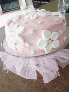 decorate a cake with cut marshmallows!