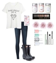 """Closed Battle"" by taylorswift-411 ❤ liked on Polyvore featuring J Brand, WithChic, Hunter, Forever 21, Bobbi Brown Cosmetics, Clinique, Casetify, Essie, Accessorize and women's clothing"