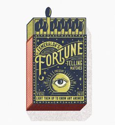 "Inspired by fortune tellers, João created this new vintage matchbox design. Ask the match any question - if it lights up first time, the answer is ""Yes! Vintage Fireworks, Eye Illustration, Matchbox Art, Vintage Packaging, Hippie Art, Fortune Teller, Palmistry, Cover Design, Vintage Designs"