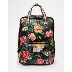 Cath Kidston Matt Coated Backpack ($68) ❤ liked on Polyvore featuring bags, backpacks, garden rose, black bag, black cotton bag, cath kidston, knapsack bags and cath kidston bag