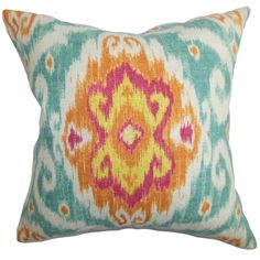 Deandre Ikat Down Fill Throw Pillow Blue Orange - Overstock™ Shopping - Great Deals on PILLOW COLLECTION INC Throw Pillows