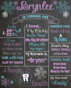 First Birthday Chalkboard Printable Poster snowflake theme /
