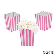 Mini Candy Pink Striped Popcorn Boxes ~   can be used as candy or french fry cups as well