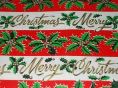 VTG CHRISTMAS WRAPPING PAPER GIFT WRAP MCM RETRO MERRY CHRISTMAS HOLLY BERRY in Collectibles, Holiday & Seasonal, Christmas: Modern (1946-90), Other Modern Christmas | eBay