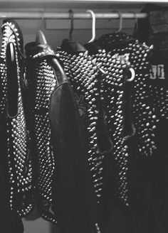 leather and studs and studded leather.