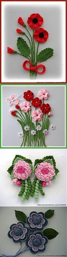 КРАСИВЫЕ ЦВЕТЫ - МНОГО ИДЕЙ И | Crochet