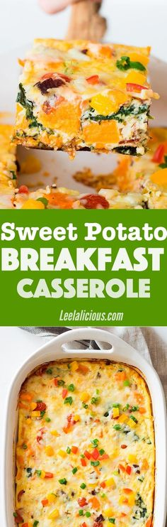 This healthy Sweet Potato Breakfast Casserole with eggs, bacon, spinach and more veggies is a perfect meal to feed a crowd. Sponsored | Brunch Recipes | Brunch | Make Ahead | Cheese