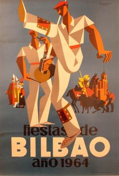 Bilbao 1964 Basque Country - original vintage poster by Martinez Ortil listed on AntikBar.co.uk