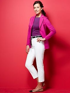 ponte knit jacket and bright top + white capris and flats