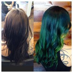 Christinacolorshair Before and after from @venomblackbird's hair, because this one was quite the process! Thanks to #olaplex we did it safely without losing any length  #pravana #pravanavivids #bluehair #greenhair #peekaboo #dimensionalcolor #sandiegohair #sandiegohairstylist #sandiego #hairdrezzersonfire #normalheights #northpark #pacificbeach #unicorntribe #mermaidhair #mermadians #behindthechair #modernsalon #breezyslist #venomblackbird #suicidegirl #colorbychristina