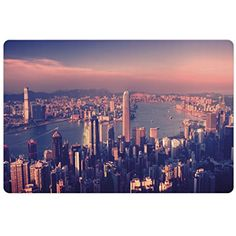 City Pet Mats for Food and Water by Ambesonne, Dreamy View of Chinese City Hong Kong Urban Scene Concept Victoria Harbor, Rectangle Non-Slip Rubber Mat for Dogs and Cats, Pale Pink Night Blue -- To view further for this item, visit the image link. (This is an affiliate link) #DogFeedingWateringSupplies
