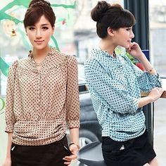 Womens Polka Dots Chiffon Blouse Shirt
