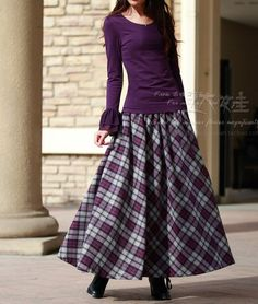 2014 autumn winter long skirt elastic waist plaid wool skirt women's all match plus size a line maxi skirt high quality-in Skirts from Apparel & Accessories on Aliexpress.com   Alibaba Group