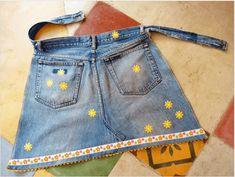 Παλιά τζιν - Ποδιά κουζίνας My Jeans, Upcycle, Denim Shorts, Vest, Jackets, Blue, Clothes, Texans, Google