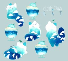 Cloud Cream Cat Tap the link for an awesome selection cat and kitten products for your feline companion! Chat Kawaii, Arte Do Kawaii, Kawaii Art, Cute Animal Drawings, Kawaii Drawings, Cream Cat, Illustration Art, Illustrations, Cat Drawing