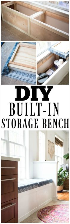 This DIY built-in storage bench is amazing! Check out this bench tutorial and build your own storage bench! Diy Furniture Redo, Diy Furniture Projects, Repurposed Furniture, Furniture Storage, Bedroom Furniture, Diy Projects, Plywood Furniture, Furniture Plans, Table Furniture