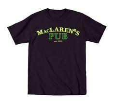 MacLaren's Pub retro NYC How I Met Bar Drinking St.Patty's Funny Mens T-Shirt, Men's, Size: Medium, Black