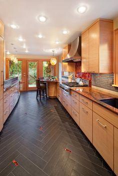 Wood look porcelain tile    Kitchen Photos Porcelain Floor Tile Wood Design, Pictures, Remodel, Decor and Ideas