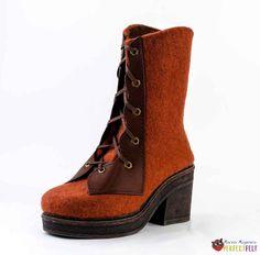 "Ботинки -""a la corcet"" с кожаными деталями Felt Boots, Wedges, Shoes, Fashion, Moda, Zapatos, Shoes Outlet, Fashion Styles, Shoe"