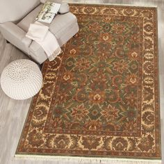 Rugsville Agra Light Green Beige 10431-5x8 Rug
