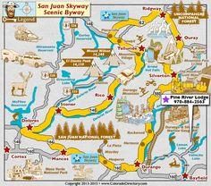 San Juan Skyway Scenic Byway Map in South West Colorado, Colorado Vacation Directory