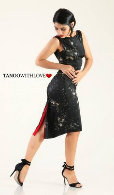 Argentine Tango Milonga Dress Reversible Low Back Slit Split
