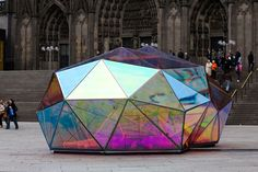 German designer Marco Hemmerling created a multi-faceted installation in Cologne, Germany, called Cityscope, which reflects fragments of surrounding buildings