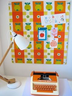 My handmade Scandinavian 70s fabric noticeboard. Repinned by Secret    Design Studio, Melbourne. www.secretdesignstudio.com