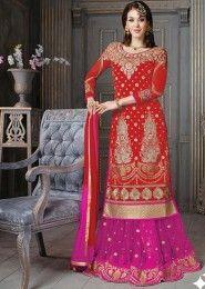 Wedding Wear Silk Red Antique Work Lehenga Suit