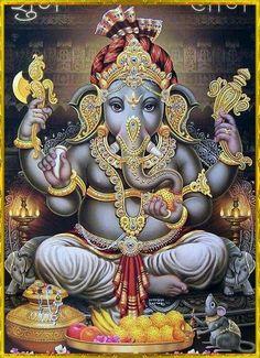 Lord Ganesha, Lord Shiva, Om Gam Ganapataye Namaha, Ganesh Idol, Ganesha Tattoo, Ganesh Utsav, Shree Ganesh, Hindu Culture, Tanjore Painting