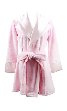Marilyn Mini Robe By Jools Couture. Lush Pink towelling robe with pale pink  sateen contrast 27a36ff28
