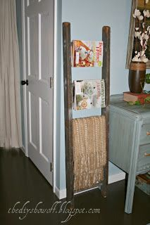 DIY Show Off - Budget Friendly Guest Bedroom Before and After - DIY Show Off ™ - DIY Decorating and Home Improvement Blog Cute idea to hold magazines and throw in guest | http://amazinghomedesignsimages.blogspot.com