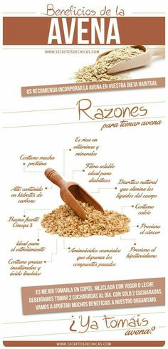 Beneficios avena by lynne Health And Nutrition, Health And Wellness, Health Fitness, Holistic Nutrition, Natural Medicine, Herbal Medicine, Healthy Tips, Healthy Habits, Health Remedies