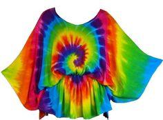 Rainbow Spiral Tie-Dye Butterfly Top