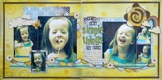 Photos are the Focal Point double page layout Scrapbooking