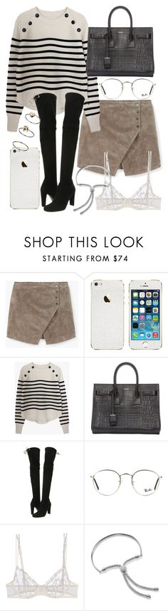 """Untitled #20250"" by florencia95 ❤ liked on Polyvore featuring MANGO, Yves Saint Laurent, Stuart Weitzman, Ray-Ban, La Perla, Monica Vinader and Topshop"