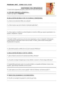 Preguntas para alumnos billy elliot