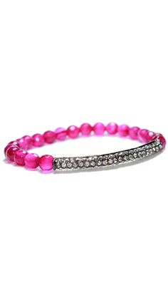 by Devoted  Pink Agate Crystal Bar Bracelet