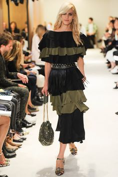 Spring 2015 Ready-to-Wear - Sonia Rykiel  --   -- Great colors for a light blonde: ruffled top and skirt / dress in black and khaki / olive green.
