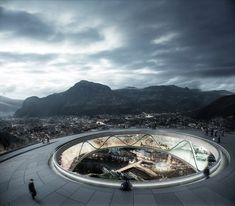 Snøhetta has designed a pair of ring-shaped platforms linked by a cable car, which will offer expansive views of the Alps in Bolzano, Italy. Architecture Visualization, Architecture Portfolio, Amazing Architecture, Landscape Architecture, Landscape Design, Architecture Design, Win Competitions, Design Competitions, Patio Circular