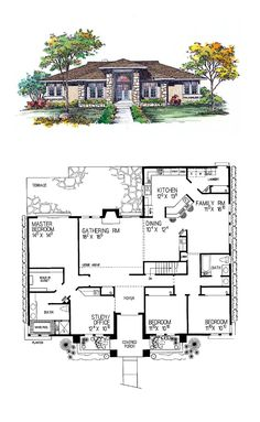 Prairie House Plan 95039 | Total Living Area: 2274 sq. ft., 3 bedrooms and 2 bathrooms.