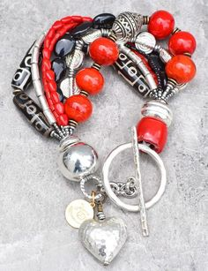 Red, Black and Silver Heart Chunky Charm Bracelet Ankle Bracelets, Jewelry Bracelets, Jewellery, Red Jewelry, Bohemian Bracelets, Braided Bracelets, Jewelry Crafts, Silver Charms, Sterling Silver Bracelets