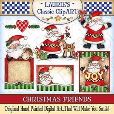 Christmas Friends Digital Art Collection by lauriefurnelldesigns, $3.95 my friend, Laurie is at it again!