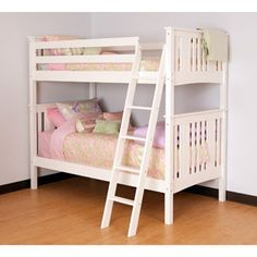 Canwood Base Camp Twin Over Twin Bunk Bed With Angled Ladder White
