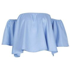 Off The Shoulder Ruffle Blouse (€8,15) ❤ liked on Polyvore featuring tops, blouses, gamiss, shirts, off shoulder ruffle top, ruffle shirt, ruffle blouse, blue off shoulder top and blue shirt