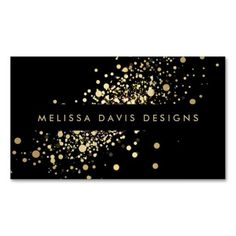 Black and Gold Modern Business Card Template featuring glitter/confetti design. Ready to personalize and order. Great for any stylish industry. Eye-catching and unique. Design by 1201AM Paper Goods.