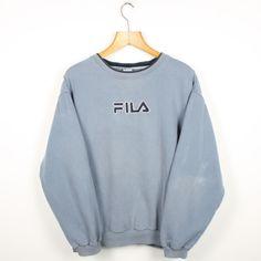 5d47c678e Vintage FILA Big Logo Blue Sweatshirt Jumper
