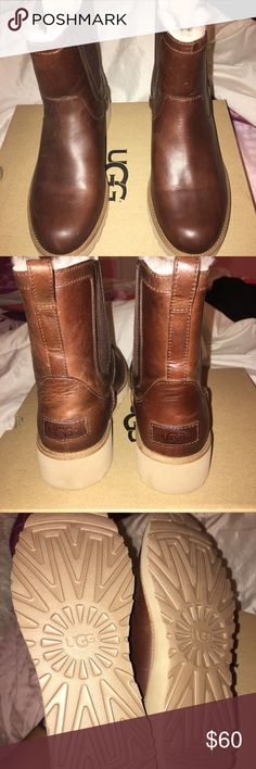 Women's UGG Boots Leather UGG Boots with fur inside. Worn twice! UGG Shoes Winter & Rain Boots